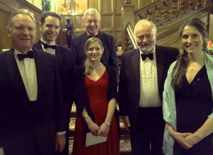 Ian Sabin, Laurence Pearce, Claire Chaplin, Stephen Cooper, and Caroline Long, with the Master